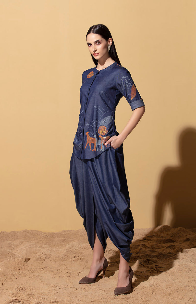 Denim Dhoti Pants with Belt