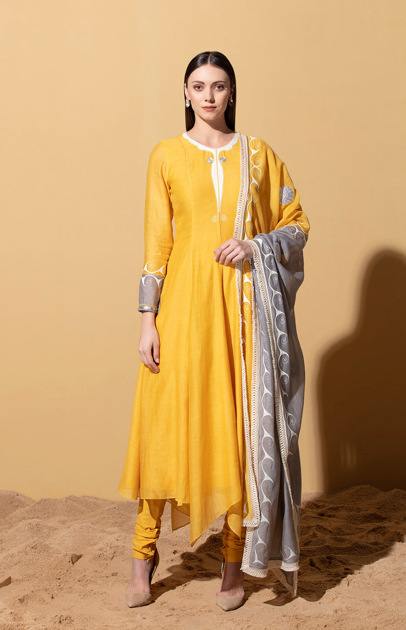 Mustard Anarkali with Embossed Dupatta