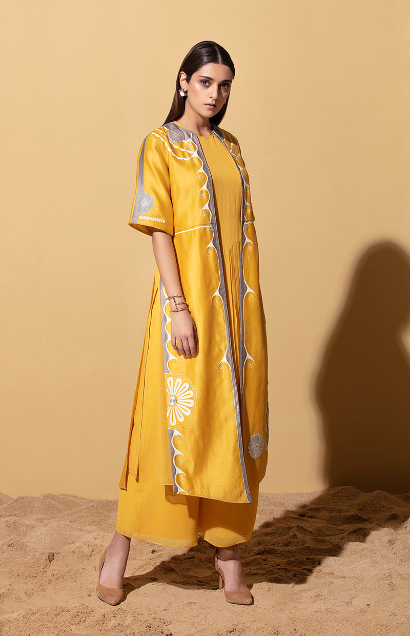 Nandi Mustard Jacket Set in Chanderi