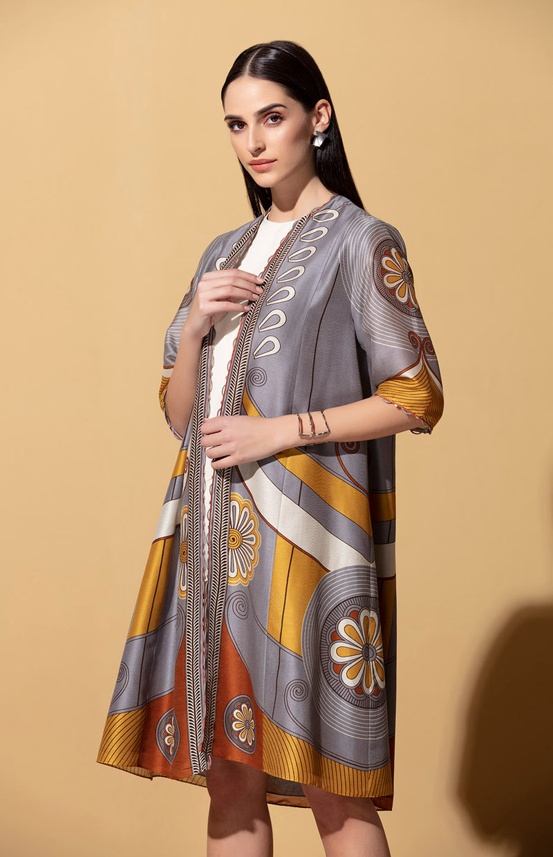 Iyana Steel Grey Jacket Set in Chanderi