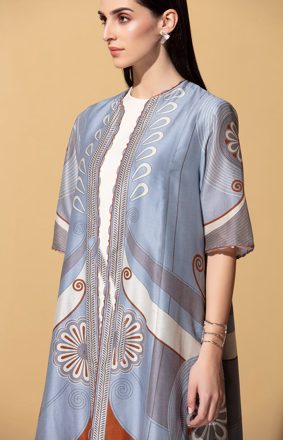 Iyana Greyish Blue and Ivory Tunic Set
