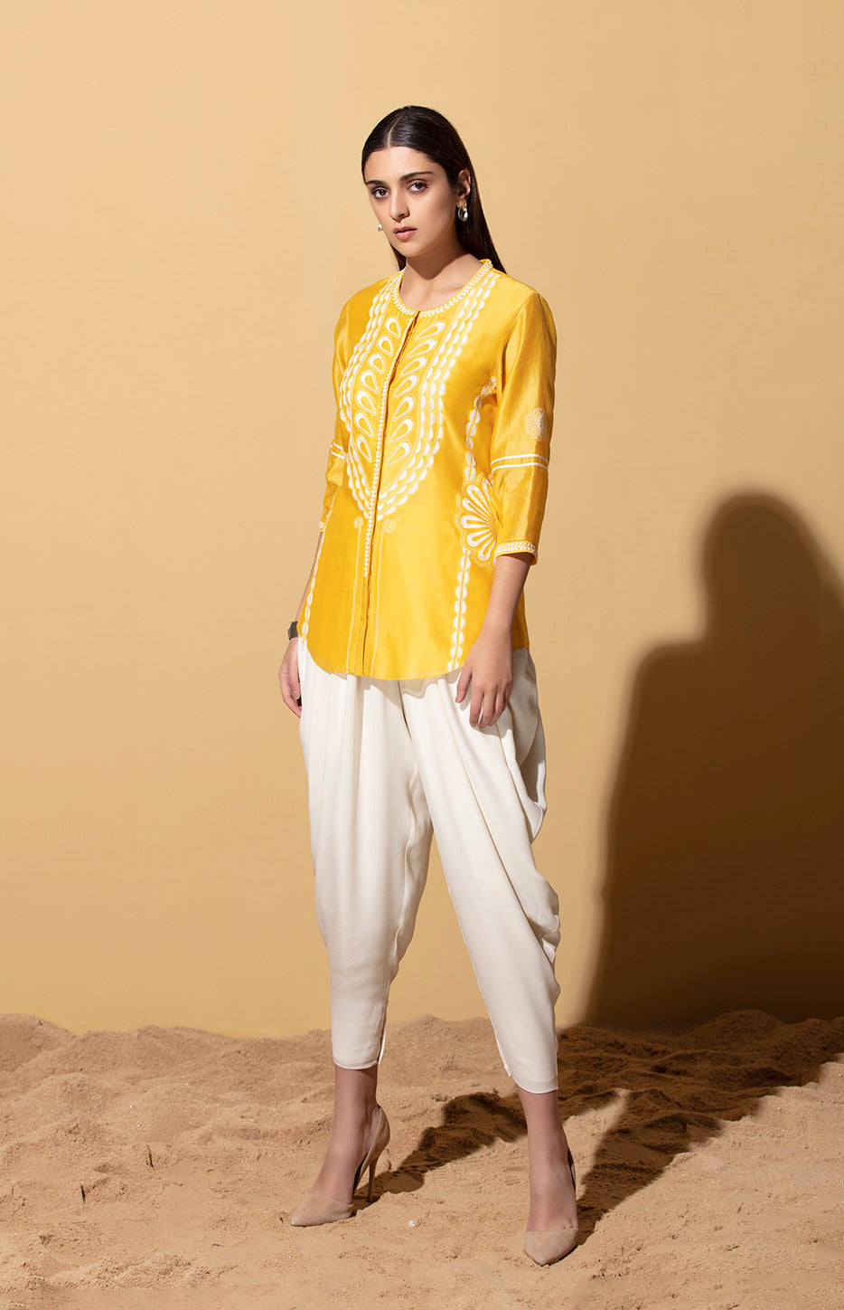 Lerato Mustard Shirt in Chanderi