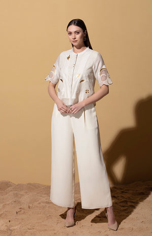 Zinhle Ivory Cropped Shirt and Pants