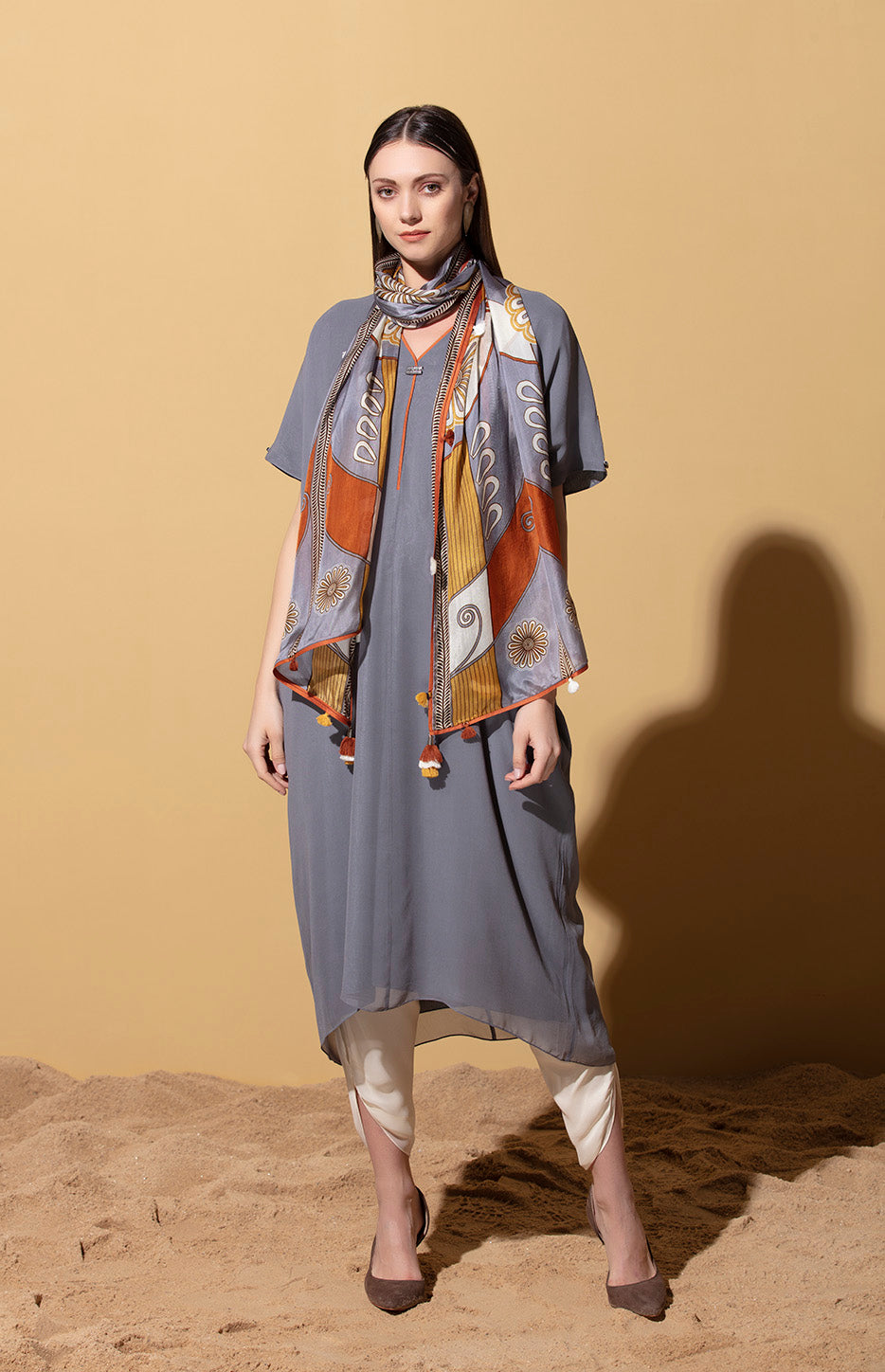 Yinhle Steel Grey Tunic in Georgette with Silk Scarf