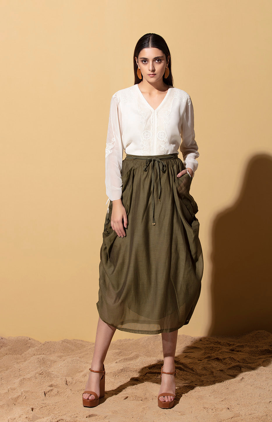 Ebele Olive Skirt in Thin Chanderi