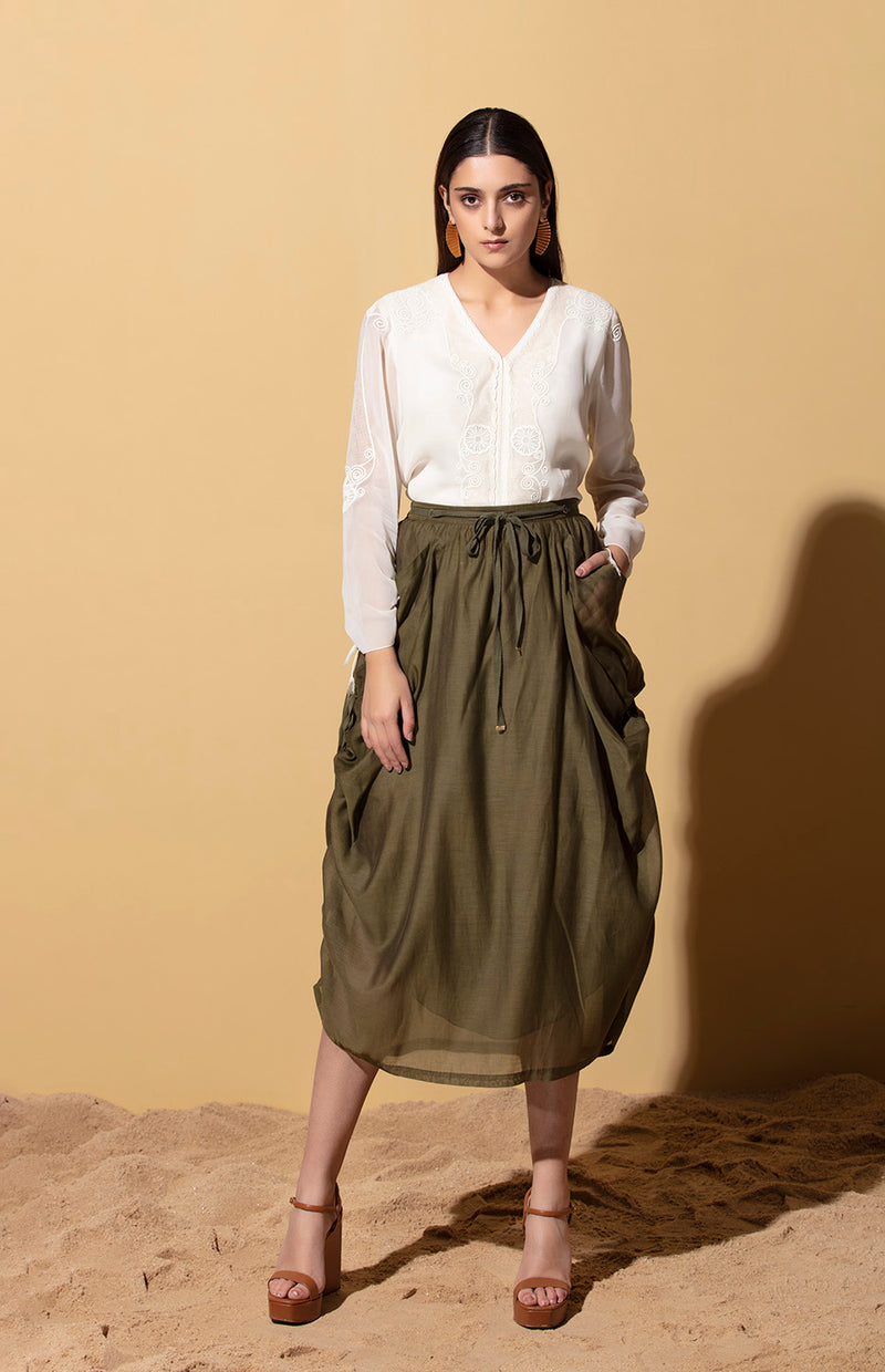 Ebele Olive Draped Skirt in Chanderi
