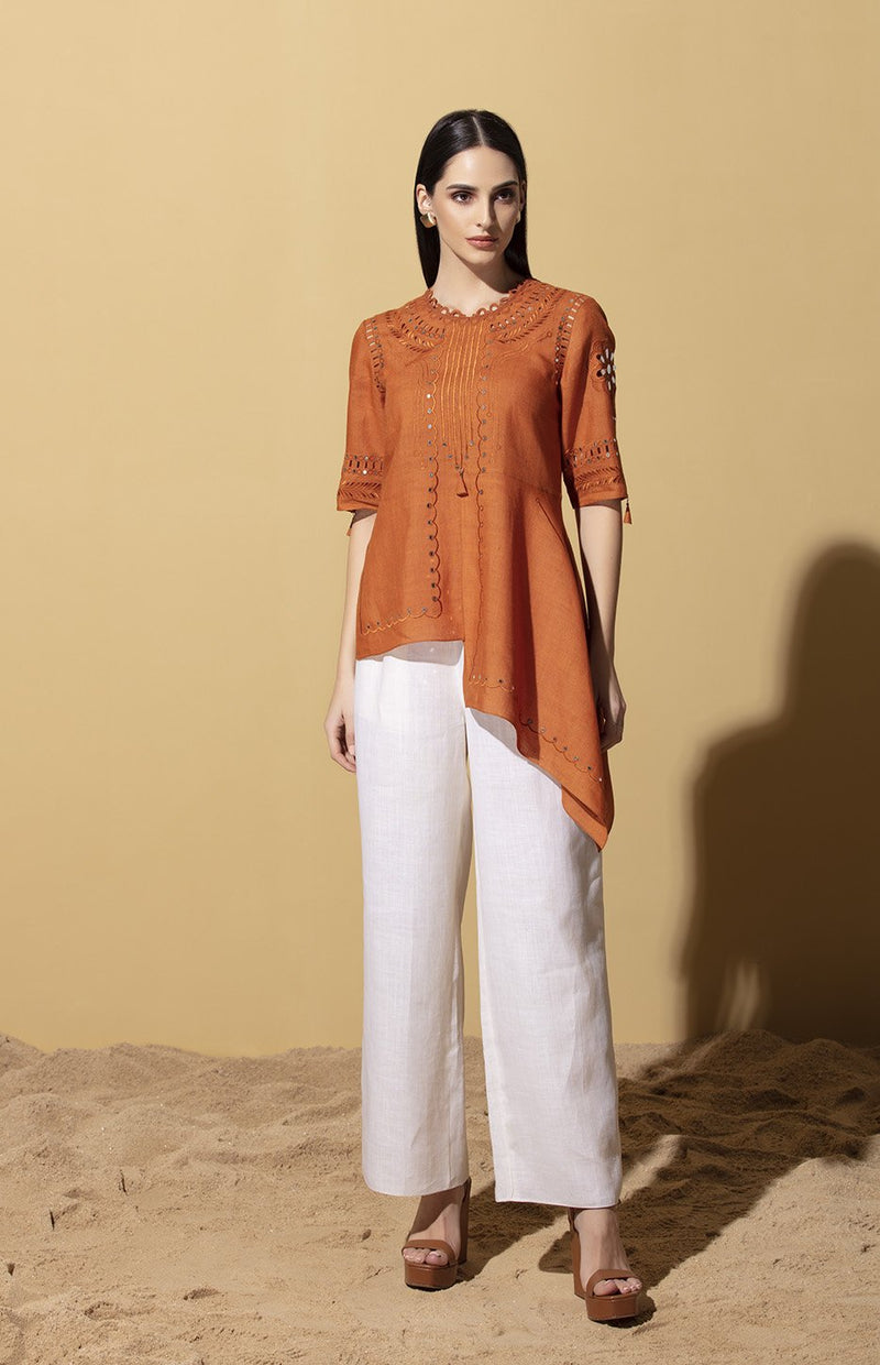 Faizah Tan Sequinned Top in Linen