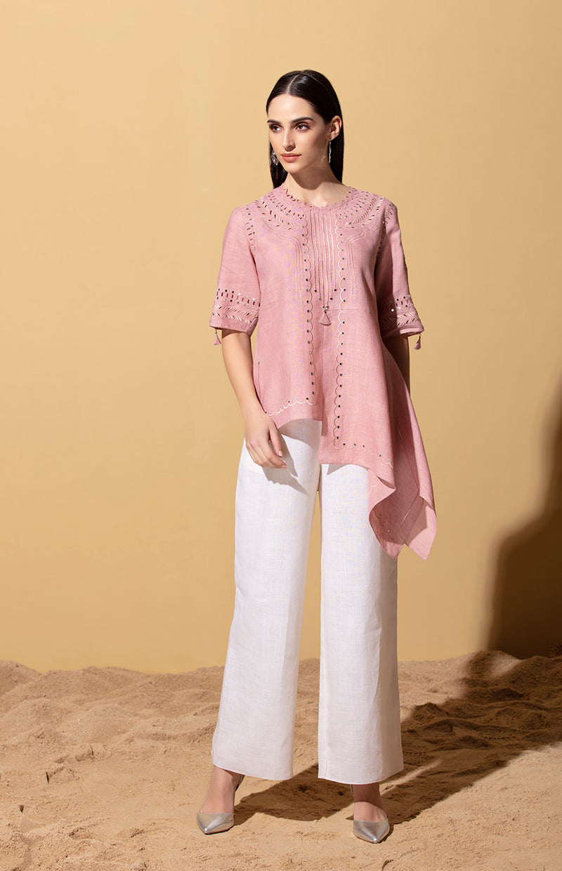 Faizah Dust Rose Sequinned Top in Linen