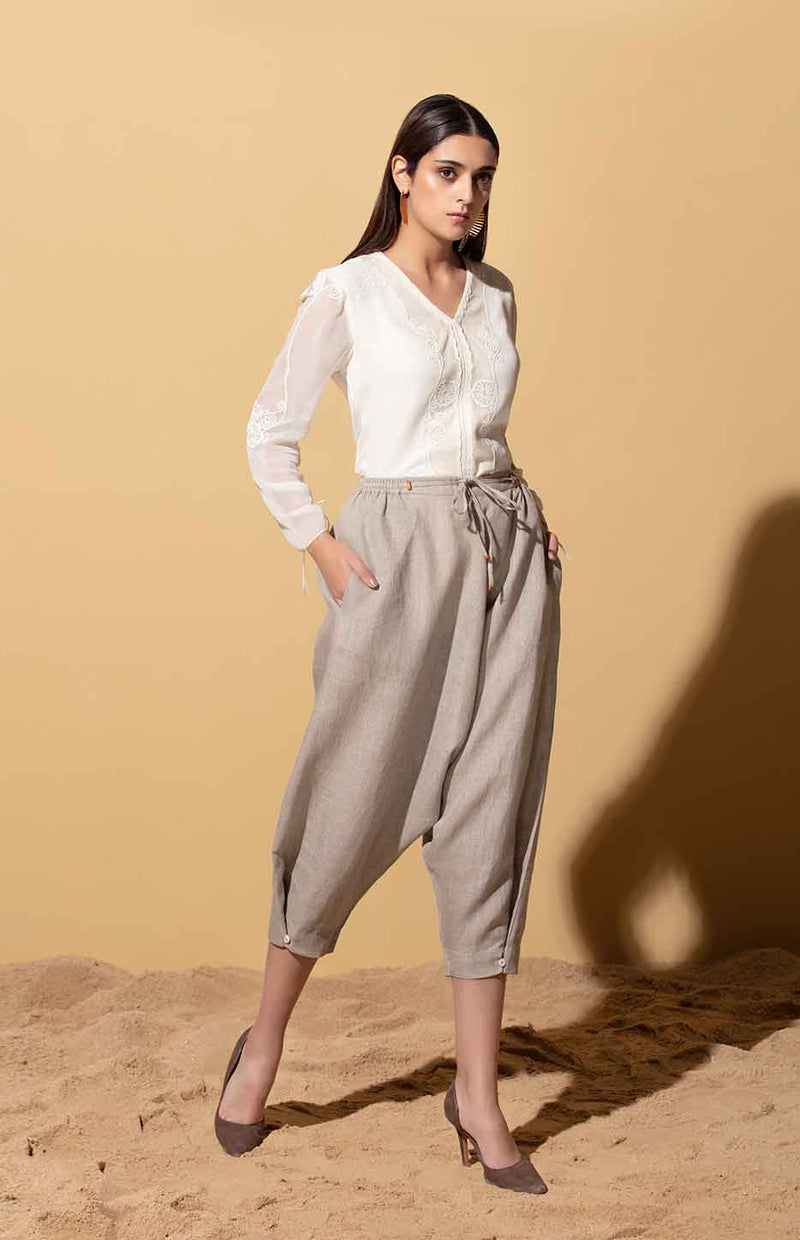 Beige Lounge Pants in Linen