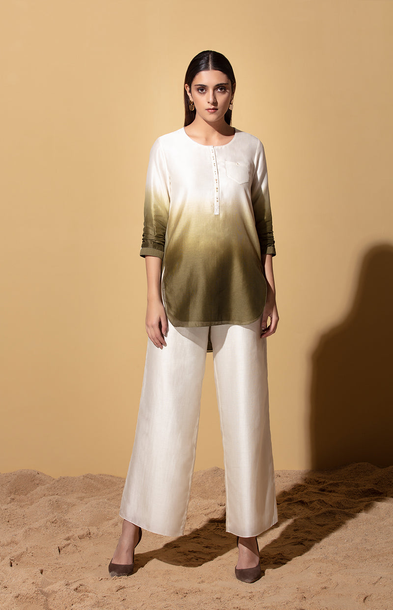 Olive and Ivory Shirt in Chanderi