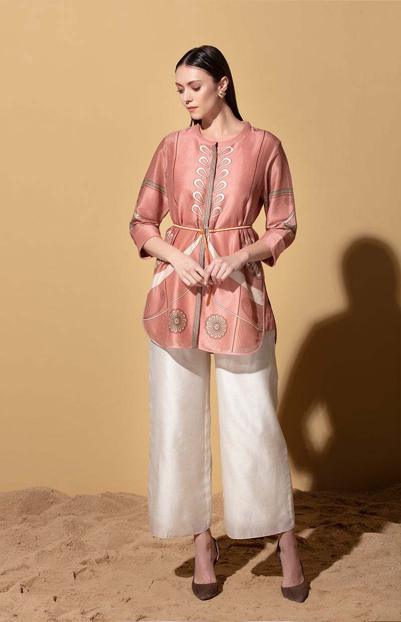 Onion Pink Printed Shirt in Chanderi