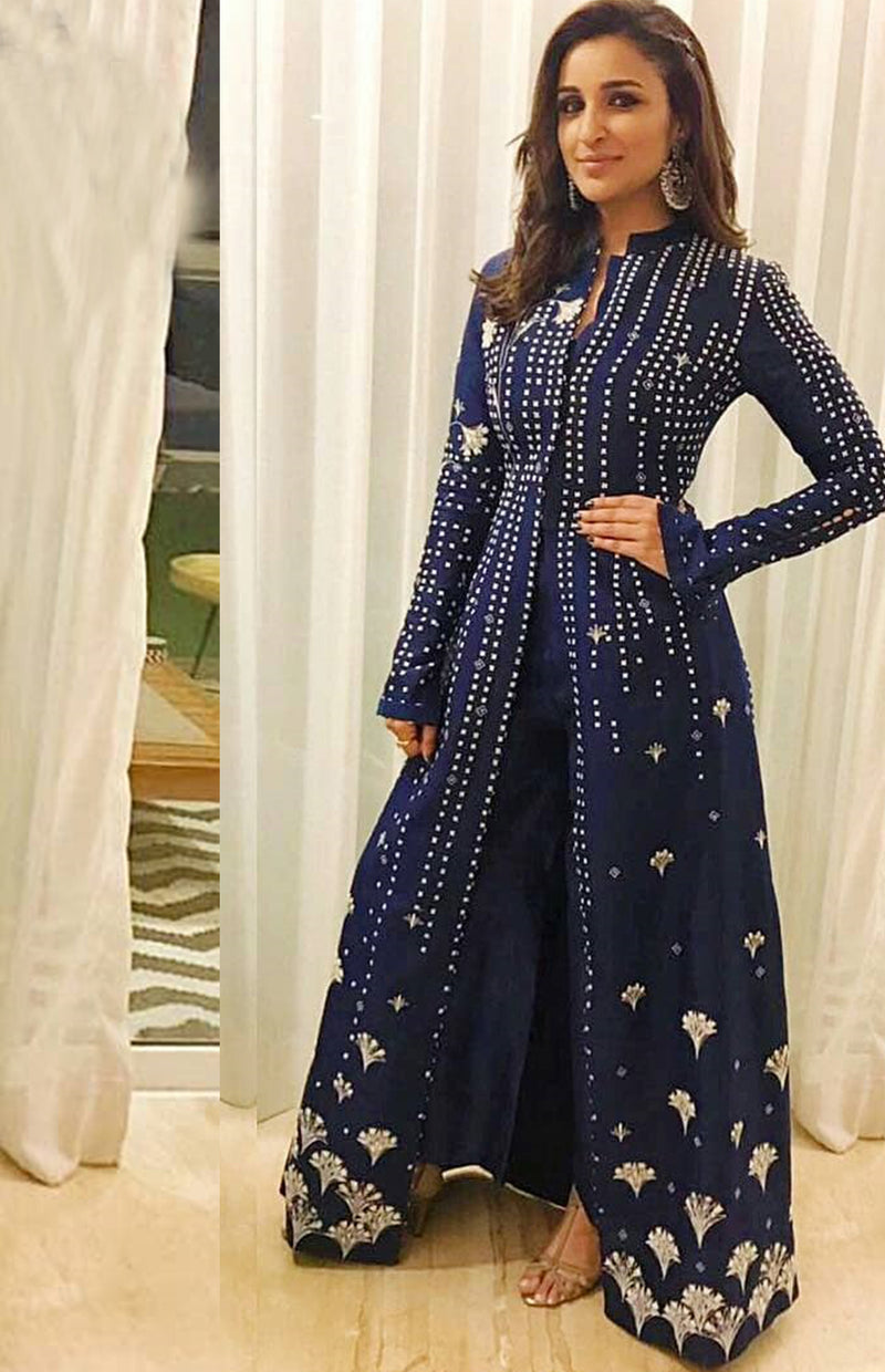 Parineeti Chopra wearing an Indigo embroidered modern Anarkali
