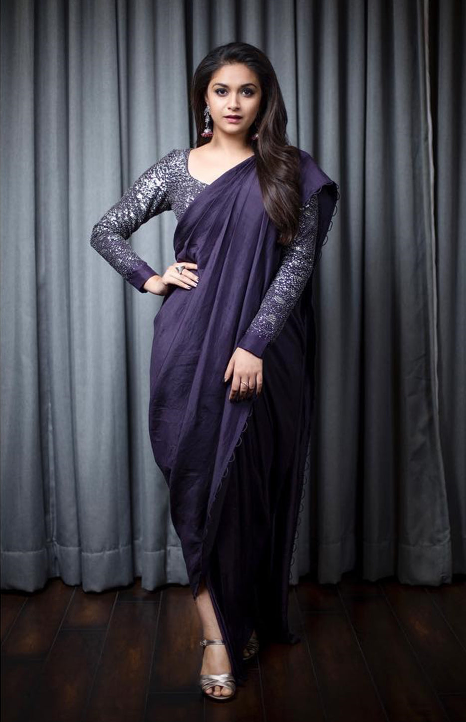 Keerthy Suresh Wearing a Purple pre- draped Saree