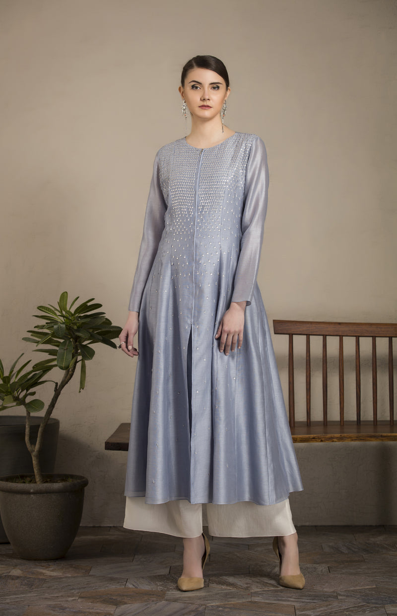 Greyish Blue Sequined Anarkali Set In Chanderi-1517