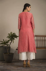 Watermelon Tunic Set In Chanderi-1890