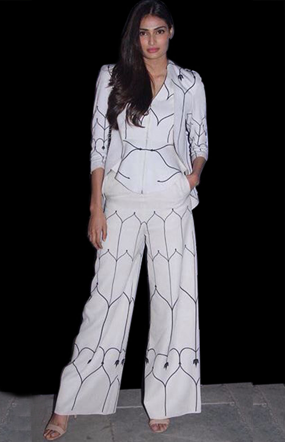 Athiya Shetty Wearing an Ivory printed Jacket and Trouser set