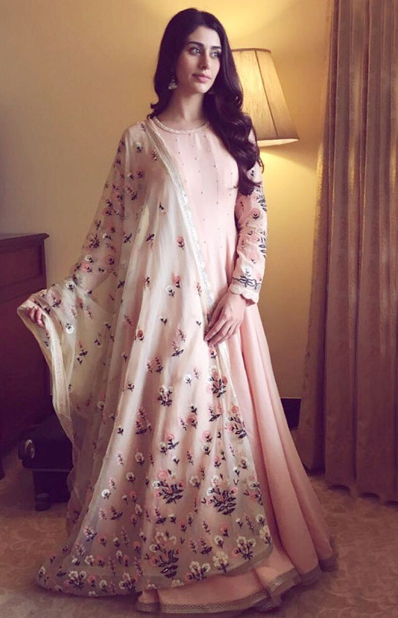 Warina Hussain wearing a Pink and Mint Anarkali suit set