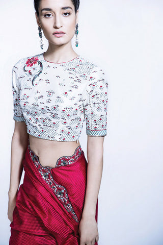 Red Saree And Embroidered Blouse - 2302