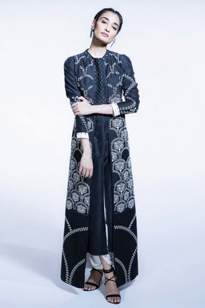 Black Embroidered Jacket Style Kurta Set In Dupion Silk- 2303