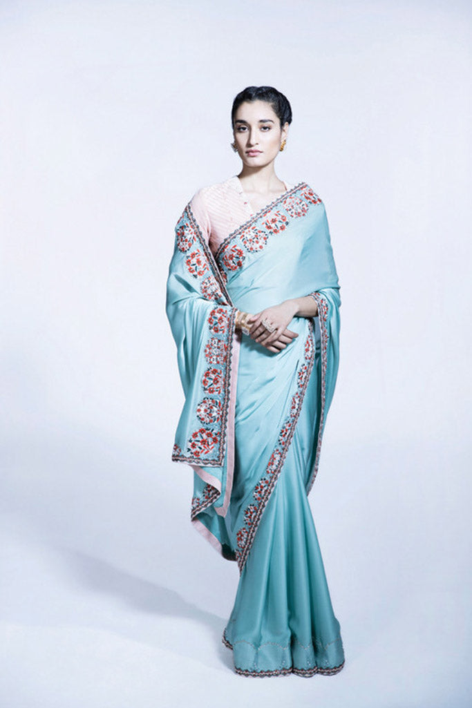 Sea Green embroidered Saree With Blouse - 2306