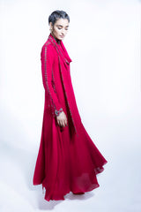 Red Sequined Embellished Long Kurta In Drape 2308
