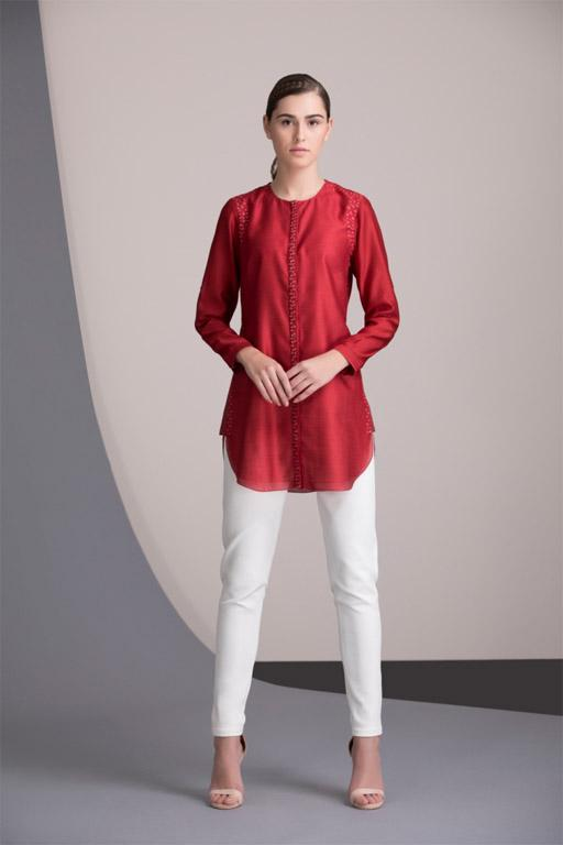 Red Shirt in Chanderi - 2335