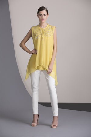 Lime Embellished Asymmetric Shirt in Georgette - 2350