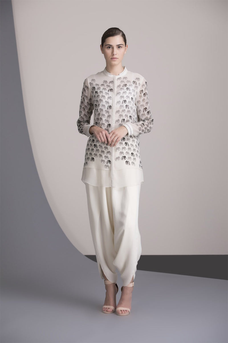 Ivory Screen Printed Shirt in Georgette - 2357