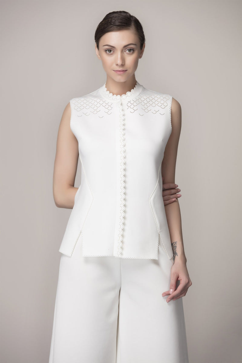 Ivory Waist Coat With Cut Work in Vis Satin Twill - 2359