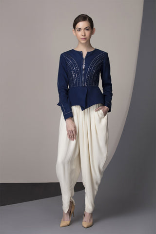 Indigo Mirror Work Waist Jacket Paired With Dhoti Pants in Georgetter - 2364