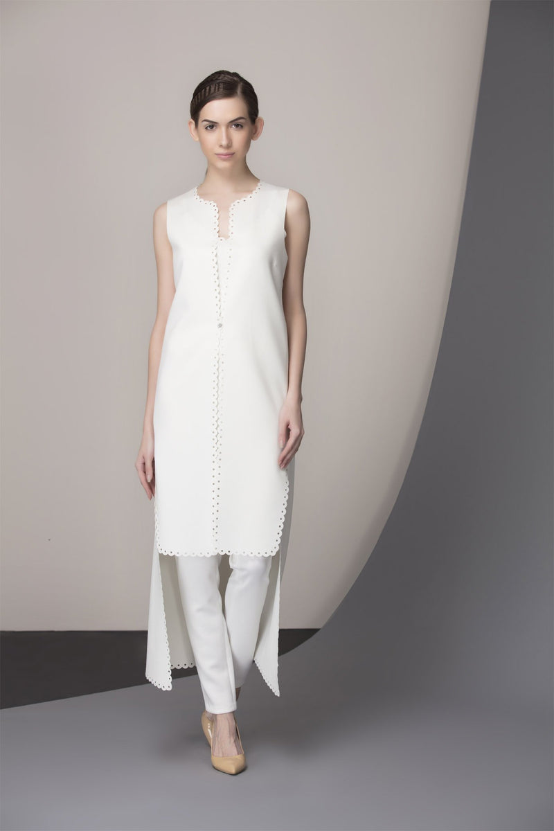 Ivory Asymmetrical cut Tunic Set With Slim Fit Pant-2370