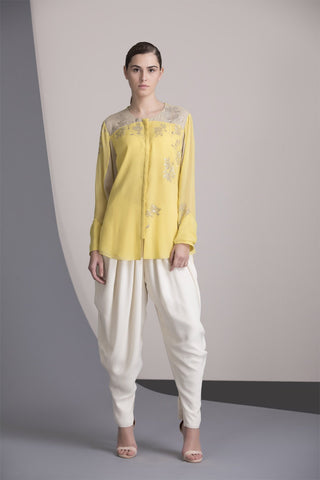 Yellow Embroidered Shirt in Georgette - 2371