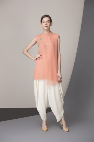 Light Salmon Handcrafted Shirt in Georgette - 2375