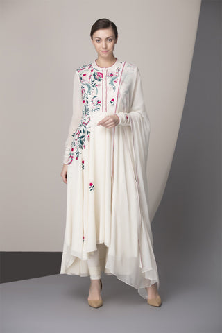 Ivory Embroidered Churidar Kurta Dupatta in Georgette - 2381