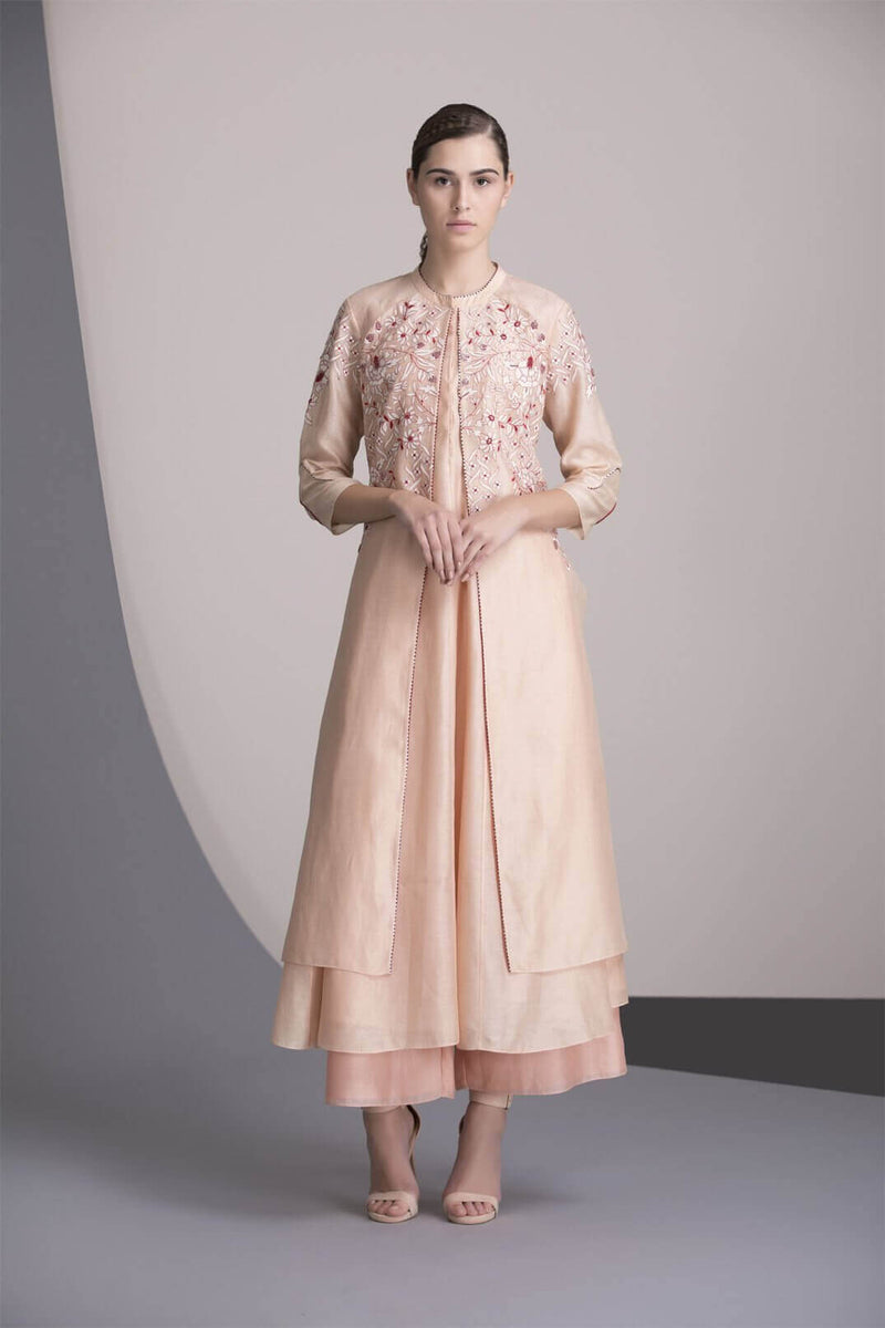 Light Pink Laser Cut Anarkali Jacket Set in Chanderi-2392
