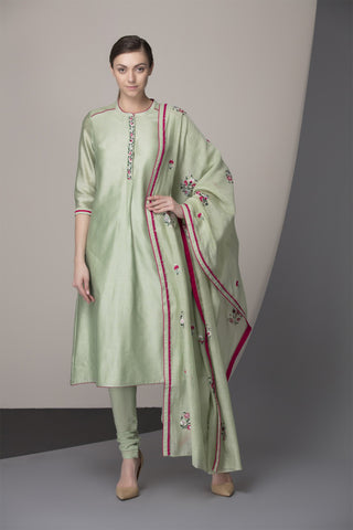 Dark Sea Green Handcrafted Churidar Kurta Dupatta in Chanderi - 2393