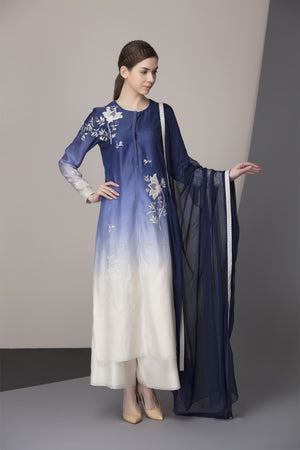 Indigo-Ivory Ombre Embroidered Kurta Churidar Dupatta in Chanderi-  2412