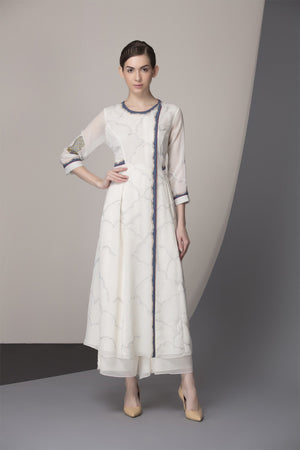 Ivory Embroidered Tunic Set In Georgette-2413