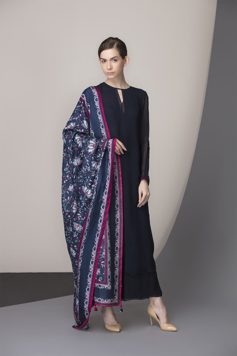 Navy Digitally Printed Dupatta Churidar Kurta in Georgette - 2432