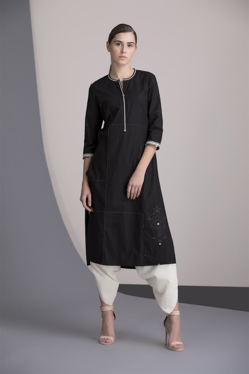 Black Tunic Set In Cotton-2452