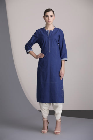 Indigo Tunic Set In Cotton-2452