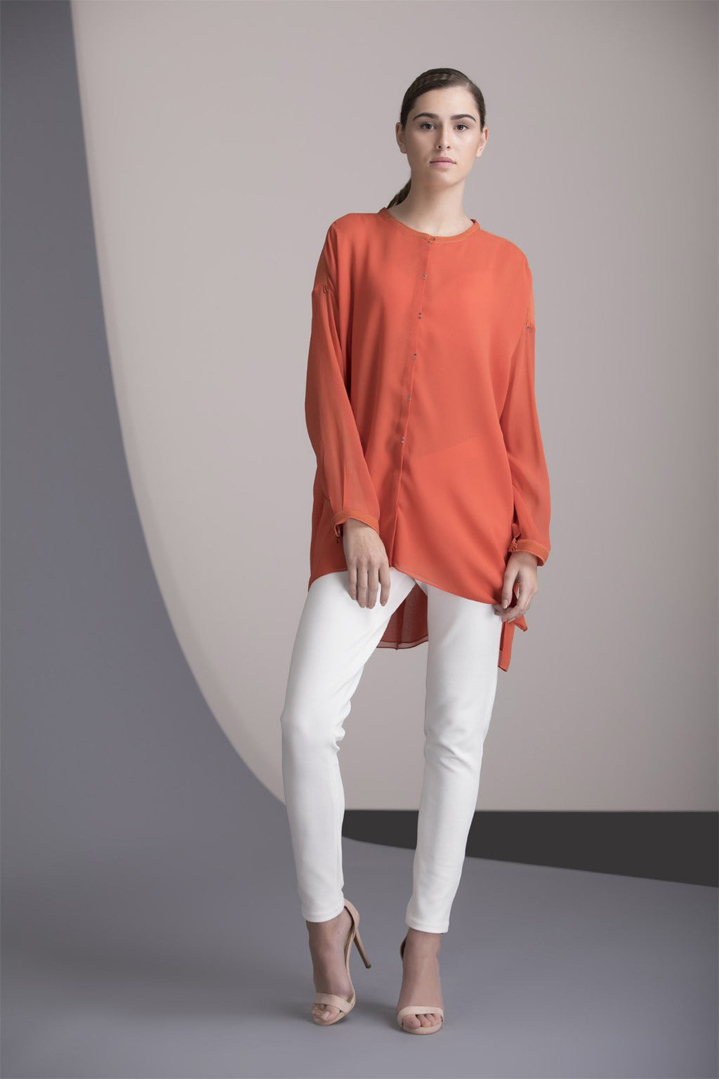 Coral Shirt in Georgette