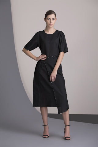 Black Dress in Linen-2455