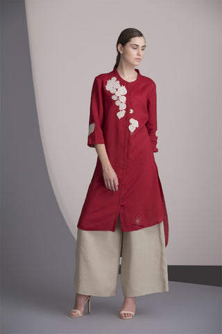 Red Embroidered Laser Cut Tunic Set In Linen-2460