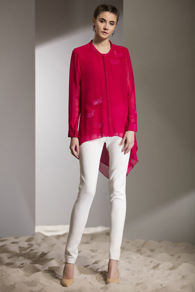 Cow Hand Embroidered Shirt In Fuschia-2471