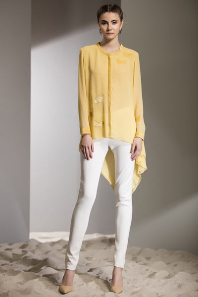 Cow Hand Embroidered Shirt In Yellow-2471