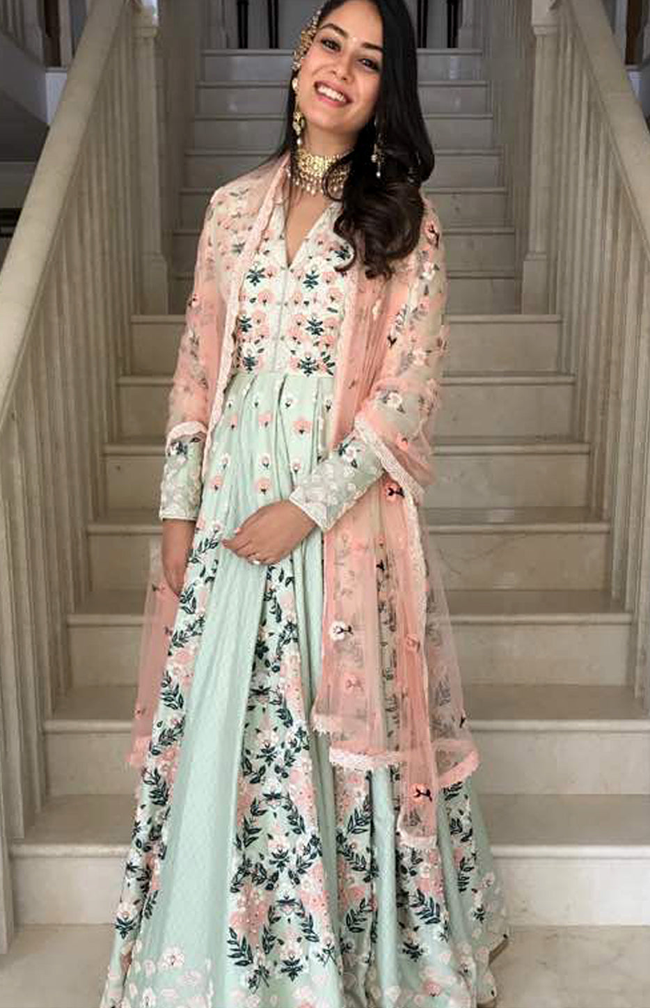 Mira Rajput Wearing a Mint Pleated Anarkali dress