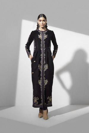 Purple Handcrafted Long Jacket in Velvet - 2510