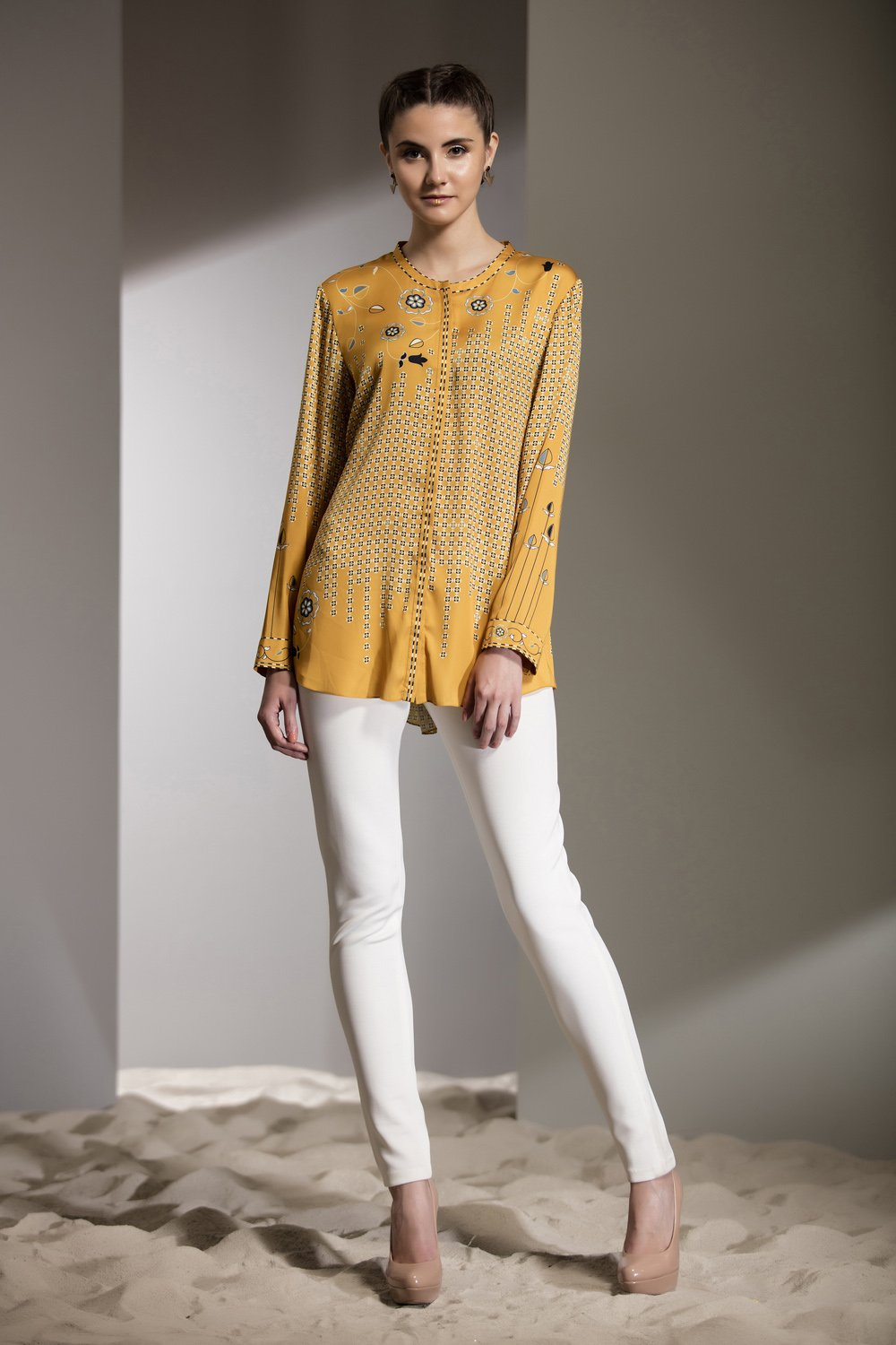 Yellow Digital Printed Shirt-2605