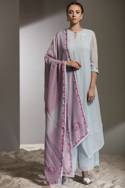 Ice Blue Digitally Printed Churidar Kurta Dupatta in Georgette - 2608
